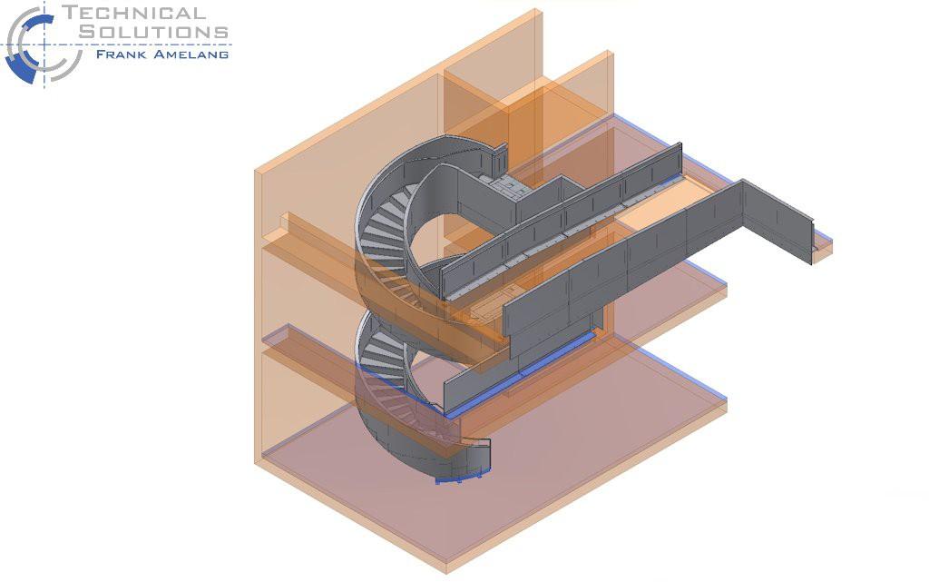 Wendeltreppen- und Geländerkonstruktion ● Medienschiff Weiterstadt 1/3