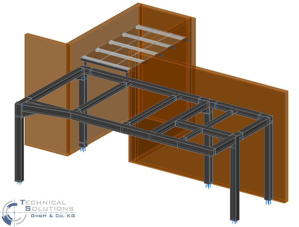 Stahlunterkonstruktion Neubau Warte Aufbereitung KM6 ● Tecnokarton GmbH & Co. KG - Mayen 1/4